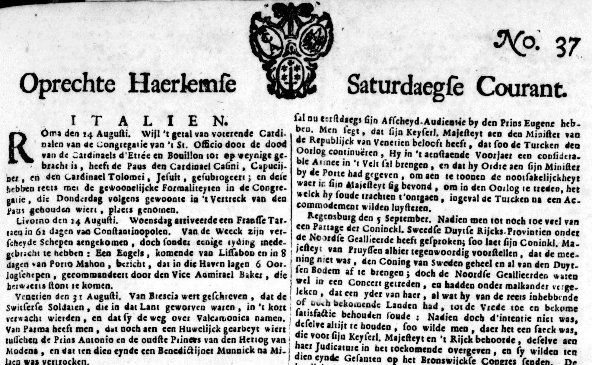 Mitä sanomalehdessä kirjoitetiin vuonna 1715?